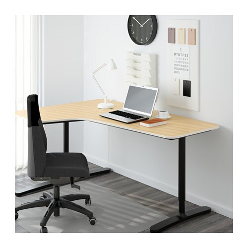 Bekant Corner Desk Left Birch Veneer Black 160x110 Cm Ikea