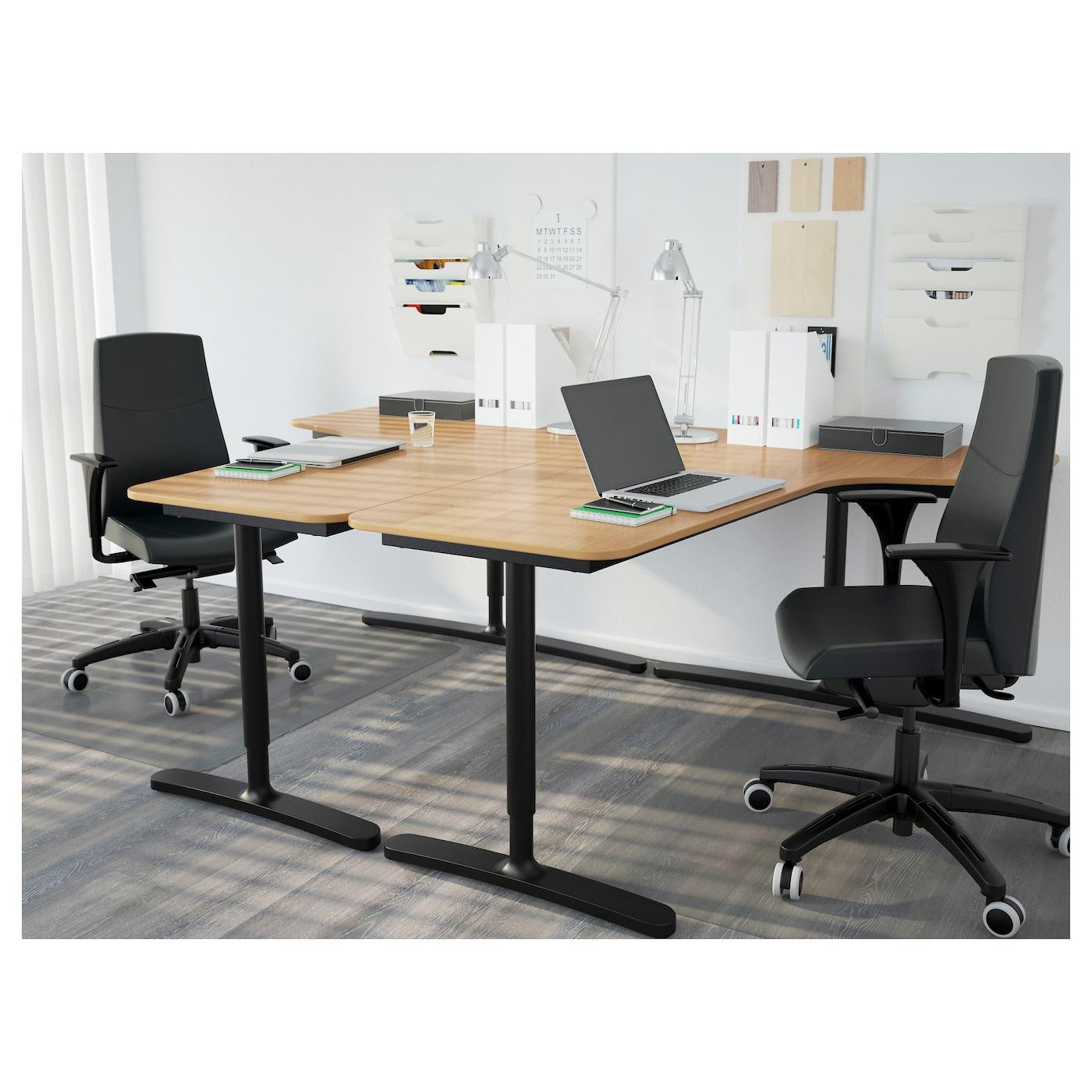bekant corner desk left oak veneer black 160 x 110 cm ikea. Black Bedroom Furniture Sets. Home Design Ideas