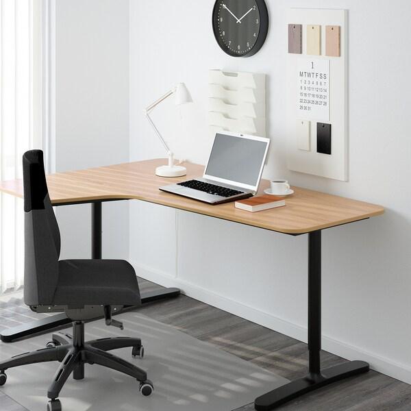 BEKANT Corner desk left, oak veneer/black, 160x110 cm