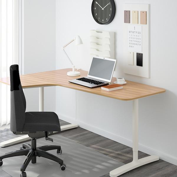 BEKANT Corner desk left, oak veneer/white, 160x110 cm