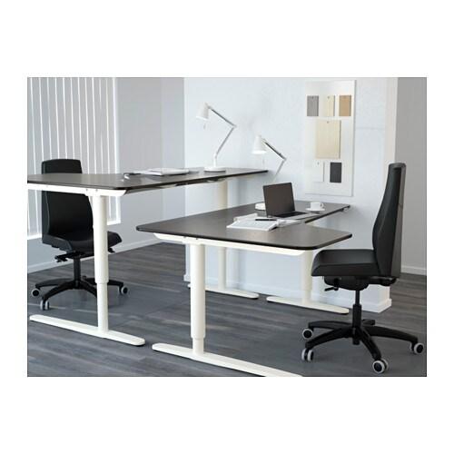 Bekant Corner Desk Left Sit Stand Black Brown White