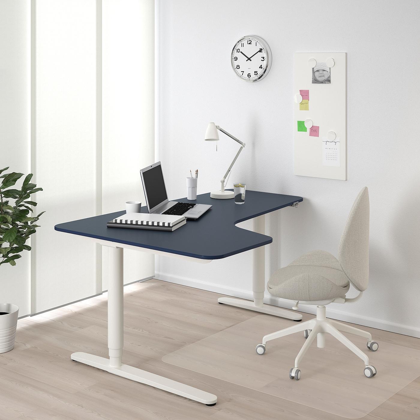 BEKANT Corner desk left sit/stand, linoleum blue/white, 160x110 cm