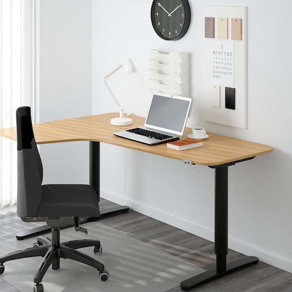 BEKANT Corner desk left sit/stand, oak veneer/black, 160x110 cm