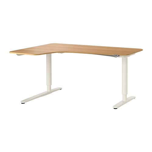 BEKANT Corner Desk Left Sitstand Oak Veneerwhite 160x110