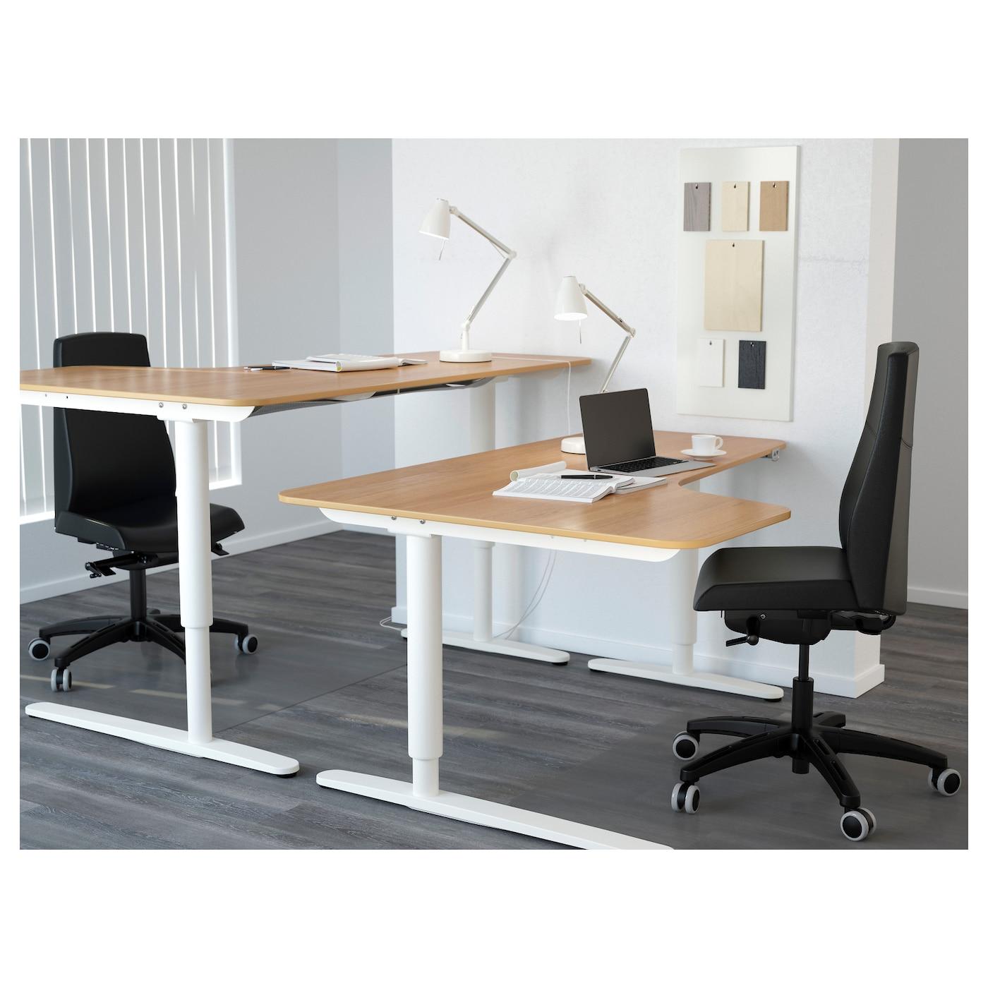 Bekant corner desk left sit stand oak veneer white 160x110 cm ikea - Ikea corner office desk ...
