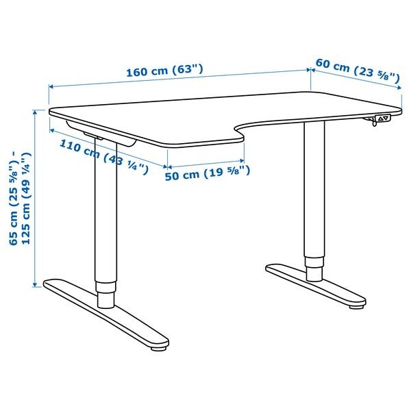 BEKANT Corner desk left sit/stand, oak veneer/white, 160x110 cm
