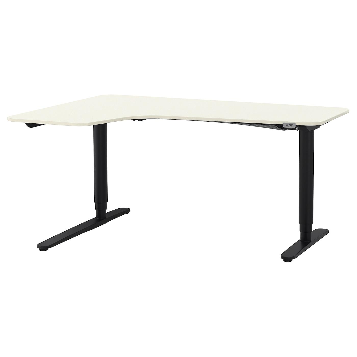 Bekant Corner Desk Left Sit Stand White Black 160 X 110 Cm