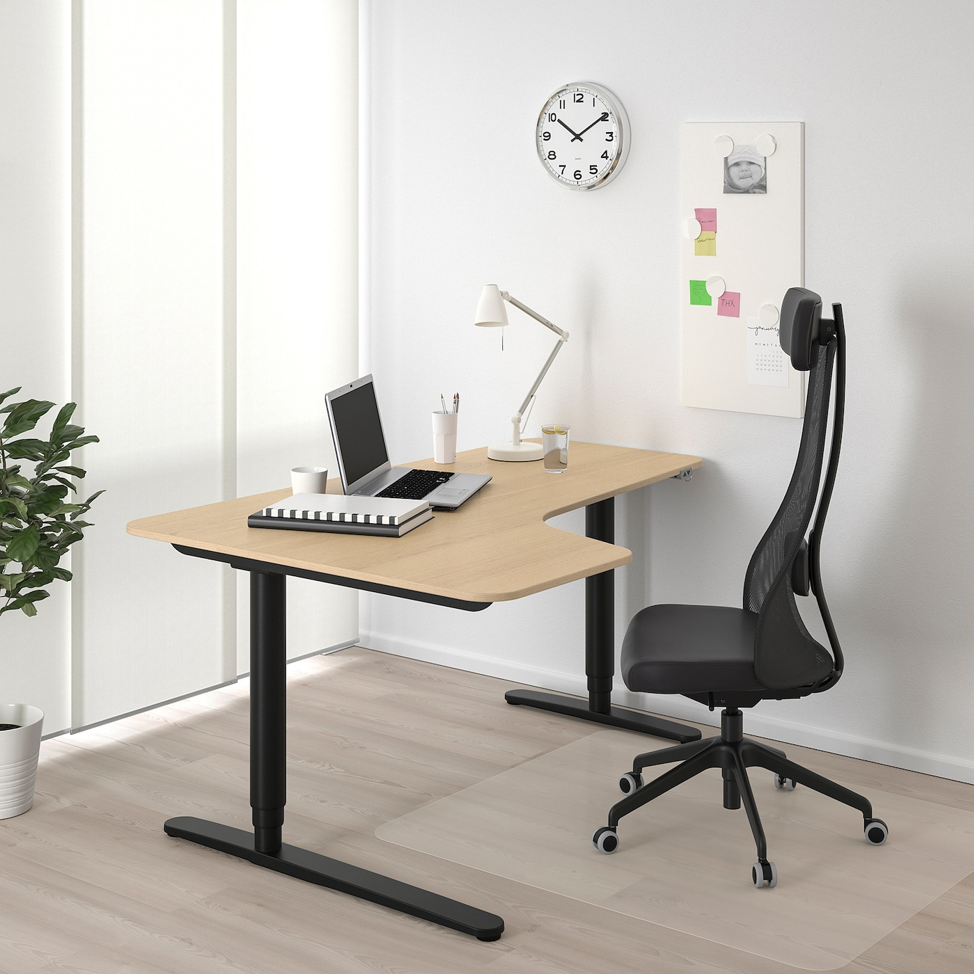 BEKANT Corner desk left sit/stand, white stained oak veneer/black, 160x110 cm