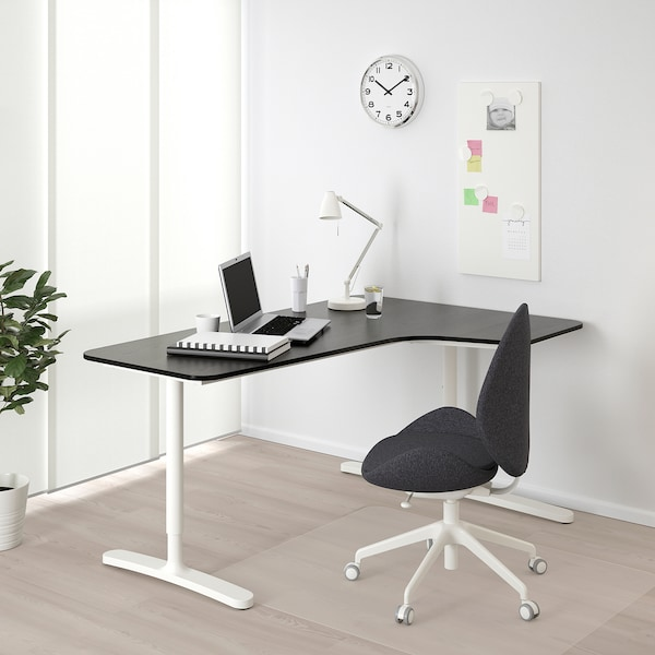 BEKANT Corner desk right, black stained ash veneer/white, 160x110 cm