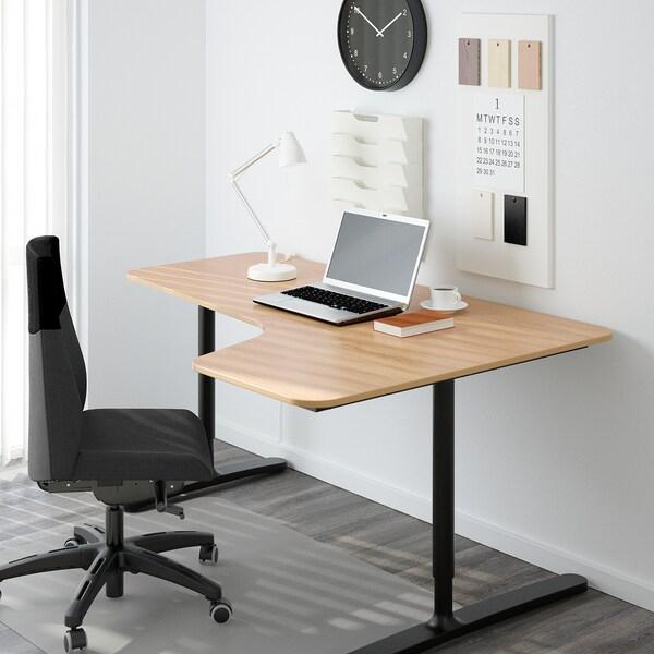BEKANT Corner desk right, oak veneer/black, 160x110 cm