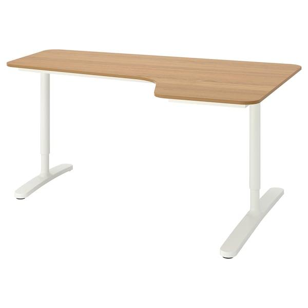 BEKANT Corner desk right, oak veneer/white, 160x110 cm