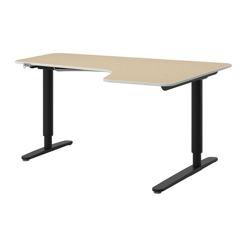 Bekant Corner Desk Right Sit Stand Birch Veneer Black