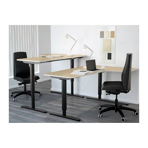 Bekant Corner Desk Right Sit Stand Birch Veneer Black