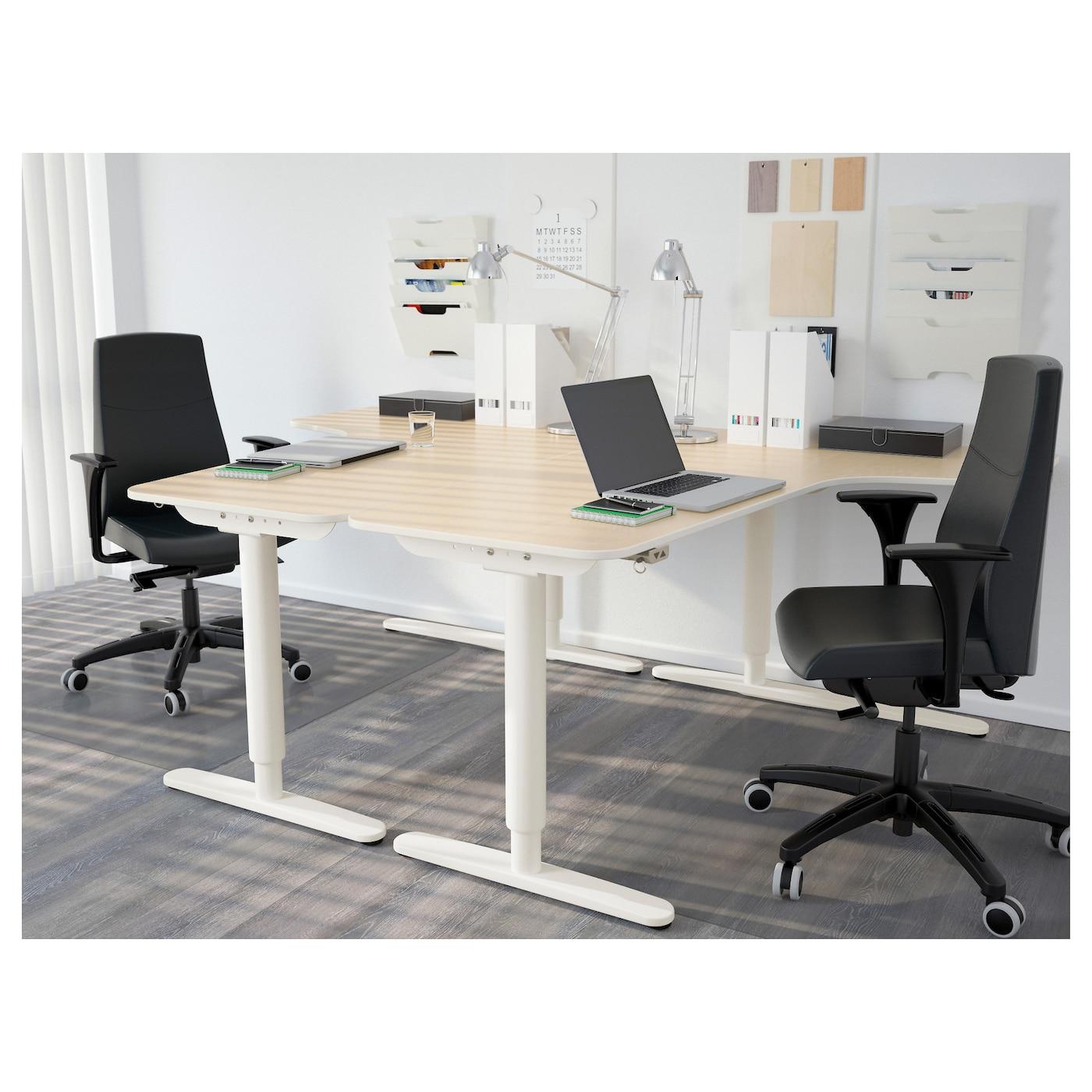 Bekant corner desk right sit stand birch veneer white 160x110 cm ikea - Ikea corner office desk ...