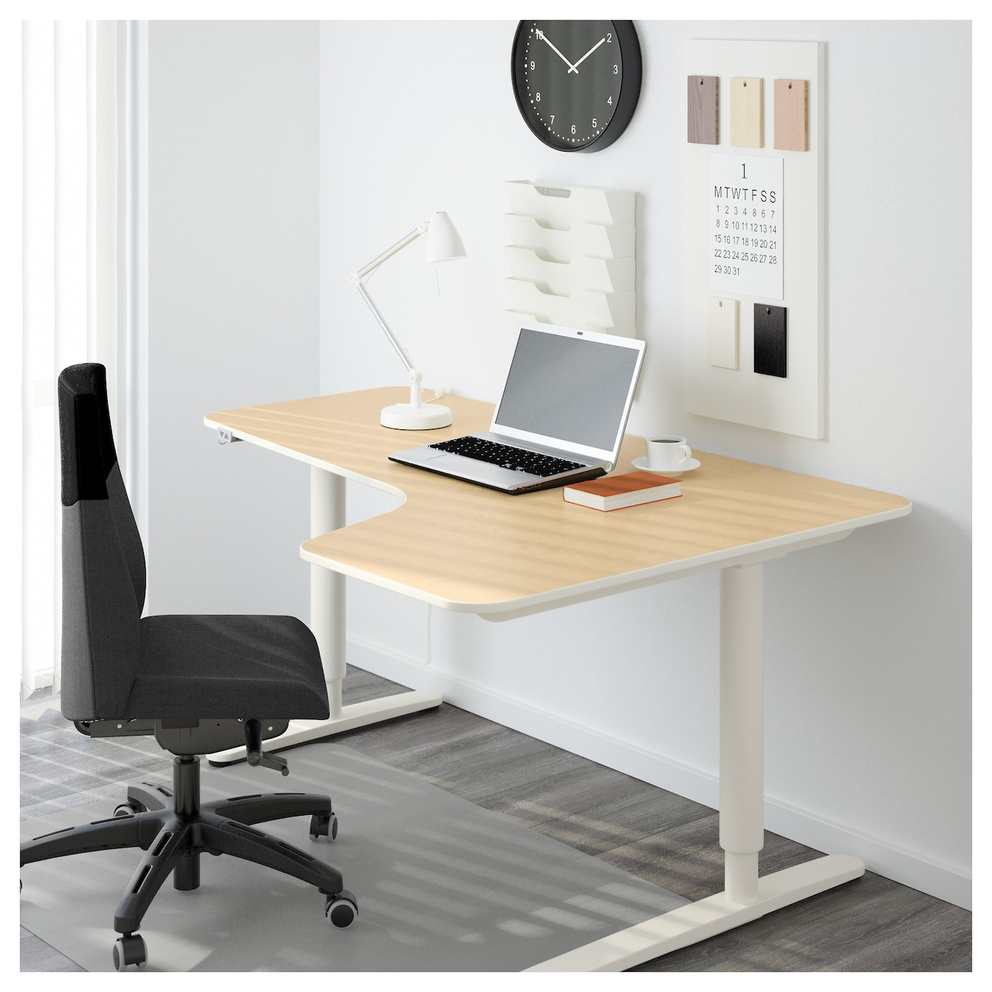 BEKANT Corner Desk Right Sit/stand Birch Veneer/white 160