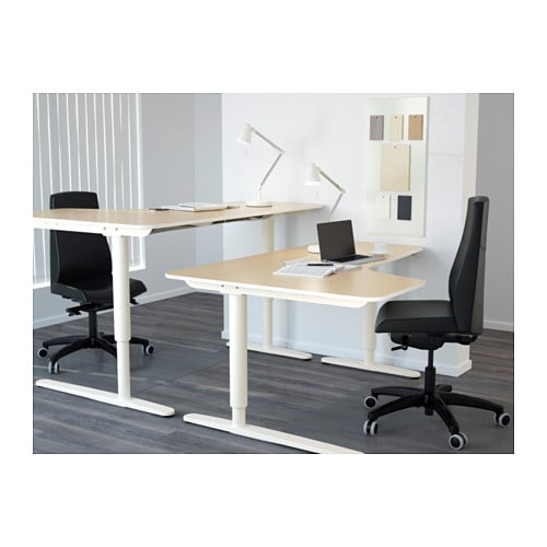 Bekant Corner Desk Right Sit Stand Birch Veneer White