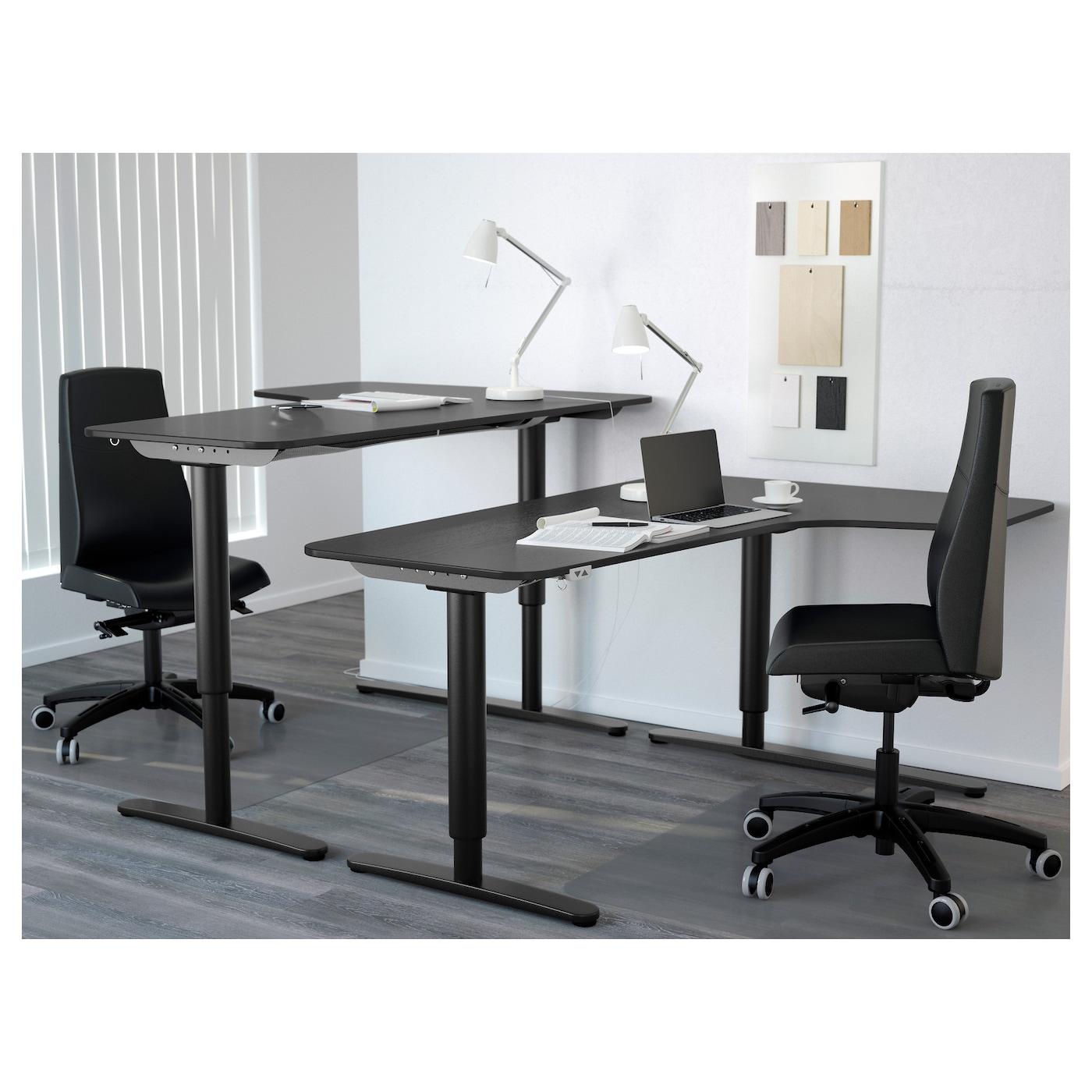 Bekant Corner Desk Right Sit Stand Black Brown Black