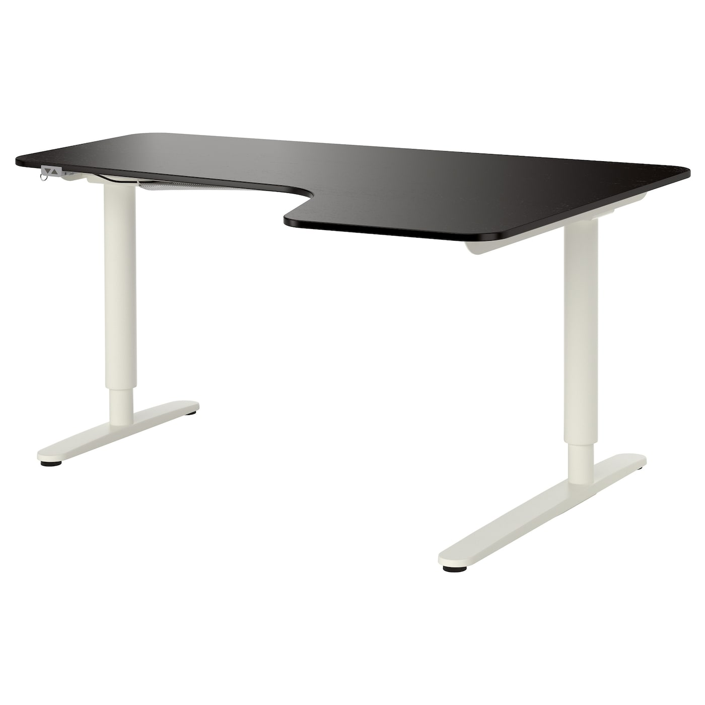bekant corner desk right sit stand black brown white
