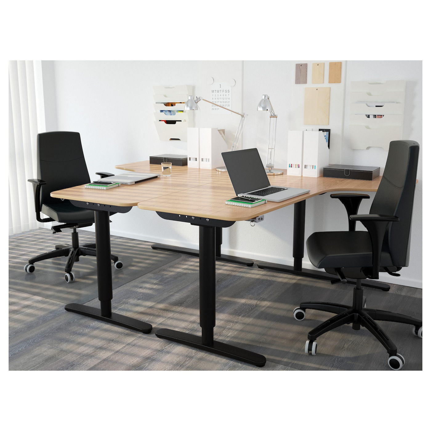 BEKANT Corner Desk Right Sit/stand Oak Veneer/black