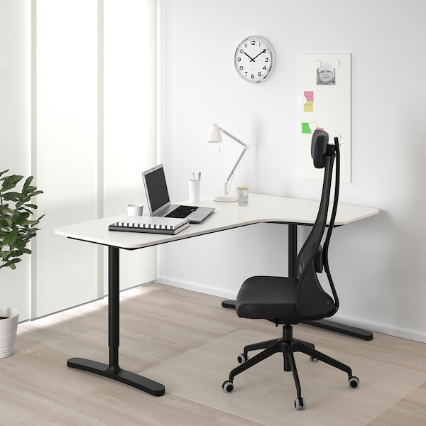 BEKANT Corner desk right, white/black, 160x110 cm