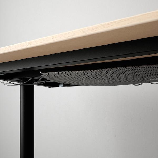 BEKANT Corner desk right, white stained oak veneer/black, 160x110 cm