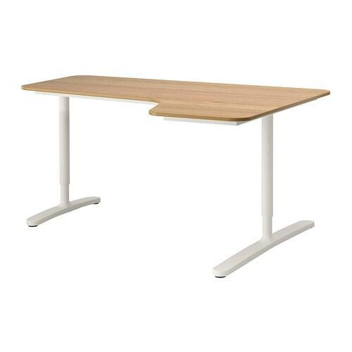 Bekant Corner Desk Right Oak Veneer White Ikea