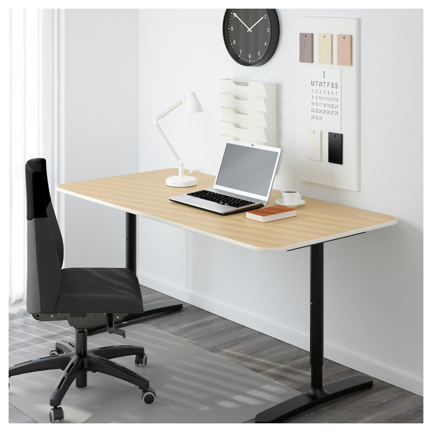 Hemnes Coffee Table Black Brown 90 X 90 Cm: BEKANT Desk Birch Veneer/black 160 X 80 Cm