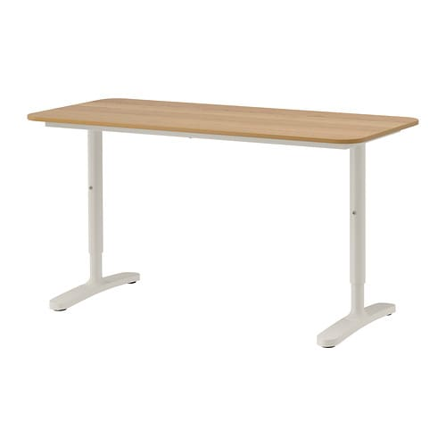 Bekant desk oak veneer white 140x60 cm ikea - White desk chairs ikea ...