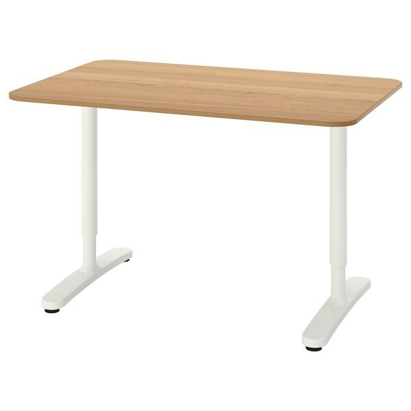 BEKANT Desk, oak veneer/white, 120x80 cm