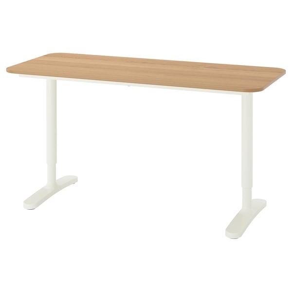 BEKANT Desk, oak veneer/white, 140x60 cm