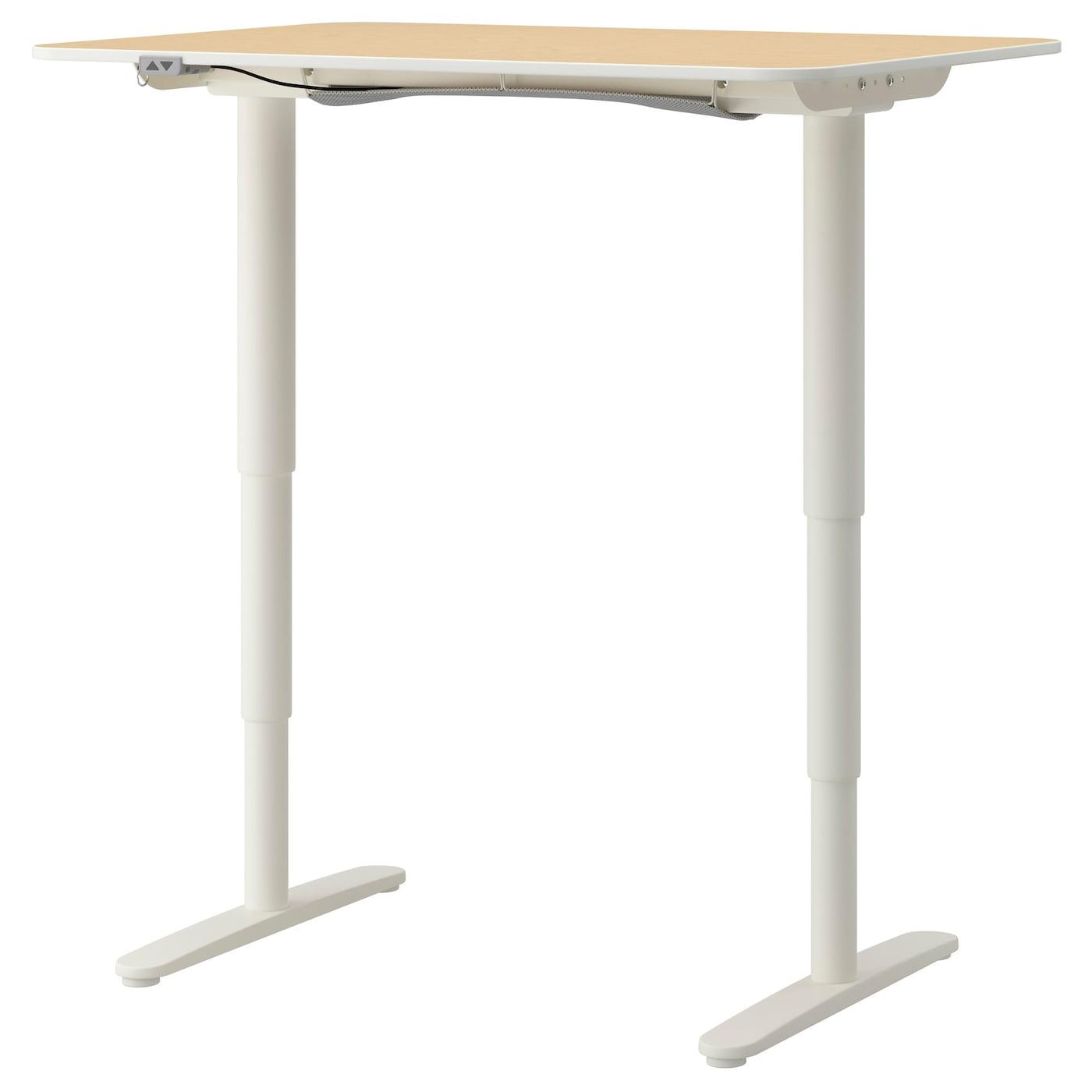 Bekant Desk Sit Stand Birch Veneer White 120x80 Cm Ikea