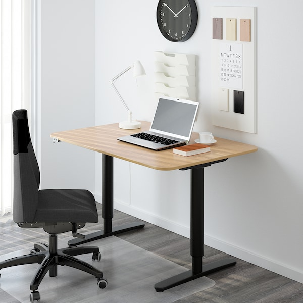 BEKANT Desk sit/stand, oak veneer/black, 120x80 cm