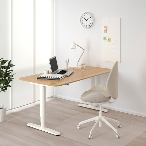 BEKANT Desk sit/stand, oak veneer/white, 160x80 cm