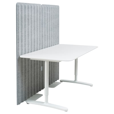 BEKANT Desk with screen, white/grey, 160x80 150 cm