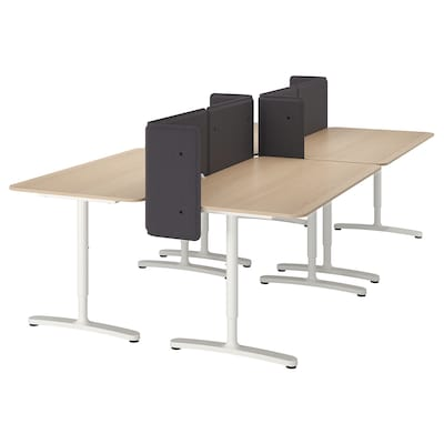 BEKANT Desk with screen, white stained oak veneer/white, 320x160 55 cm