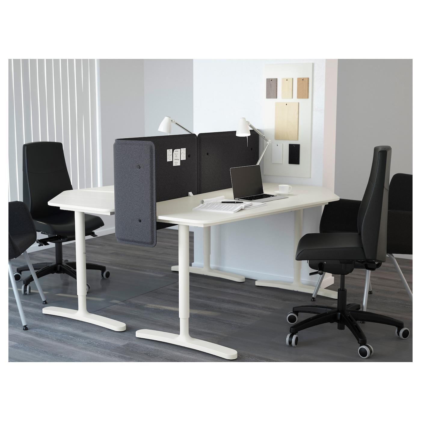 BEKANT Desk with screen White 160x160 55 cm IKEA
