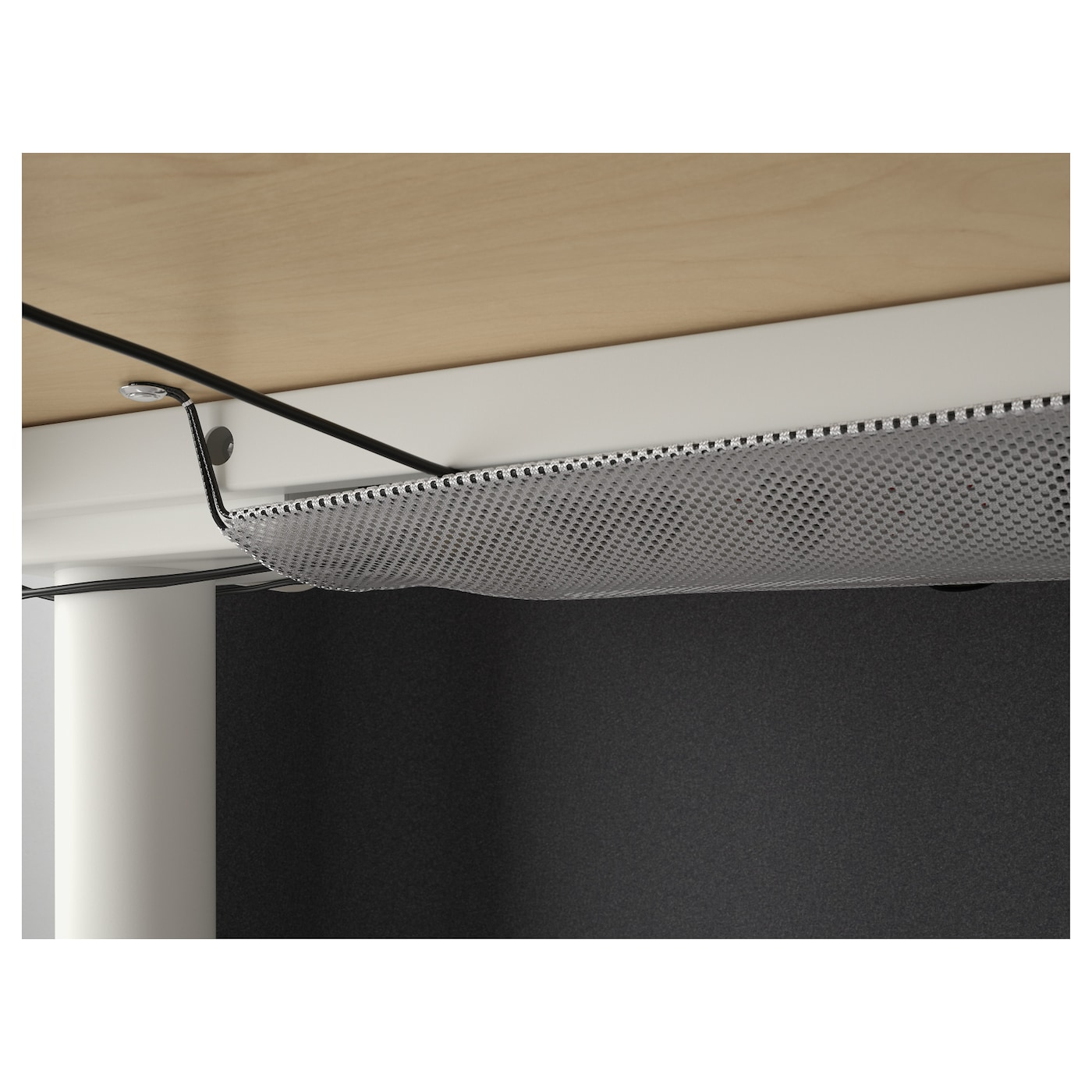 IKEA BEKANT reception desk sit/stand Holds pins; also serves as notice board.