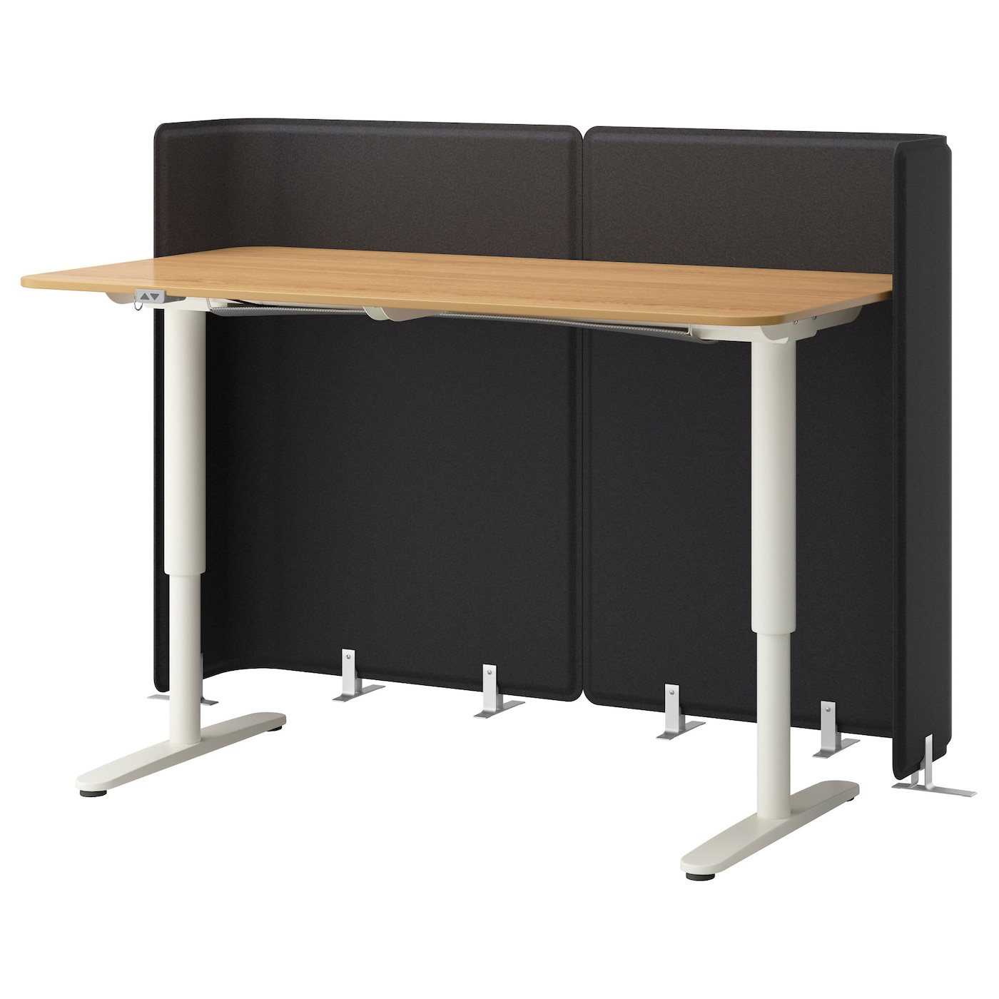 BEKANT Reception Desk Sit/stand Oak Veneer/white 160 X 80
