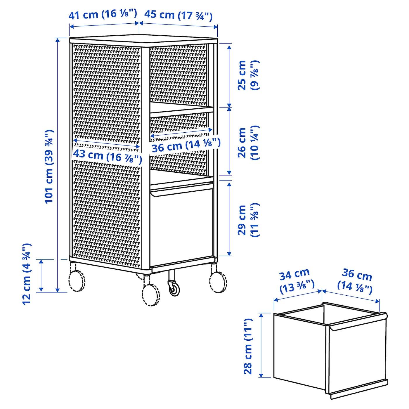Storage unit with smart lock, 41x101 cm