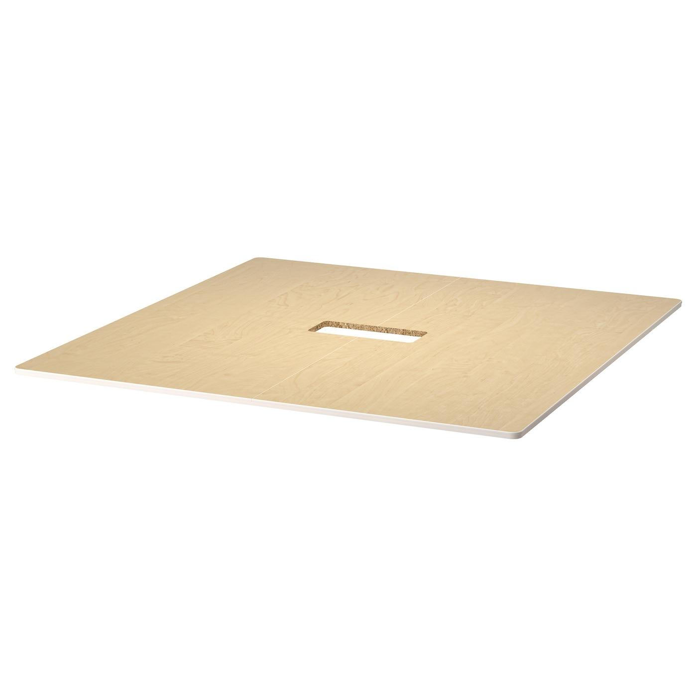Bekant table top birch veneer 140x140 cm ikea for Table 140x140
