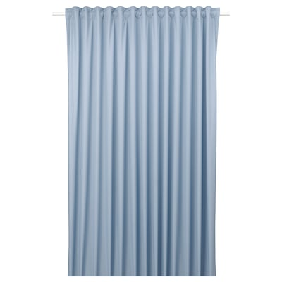 BENGTA Block-out curtain, 1 length, blue, 210x250 cm