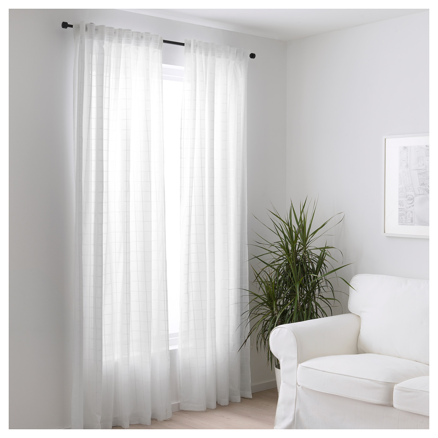 IKEA BERGITTE sheer curtains, 1 pair The curtains can be used on a curtain rod or a curtain track.