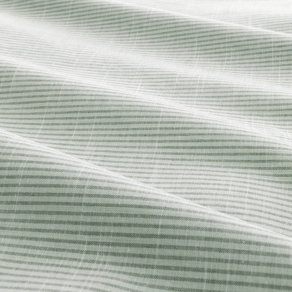 BERGPALM Quilt cover and 2 pillowcases, green/stripe, 200x200/50x80 cm