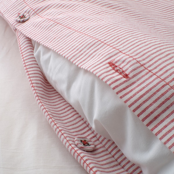 BERGPALM Quilt cover and 2 pillowcases, white/red/stripe, 200x200/50x80 cm