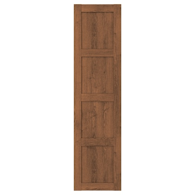 BERGSBO Door with hinges, brown stained ash effect, 50x195 cm