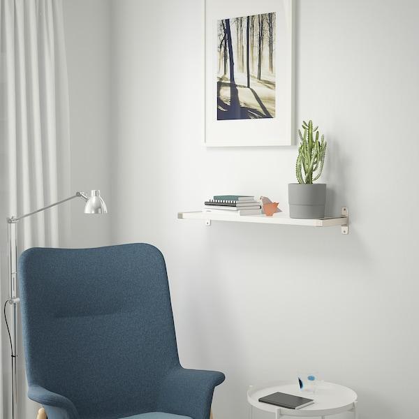 BERGSHULT / GRANHULT Wall shelf, white/nickel-plated, 80x20 cm