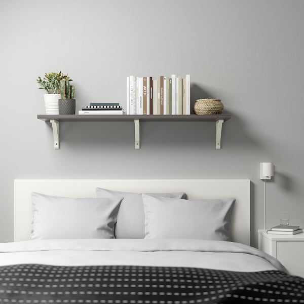 BERGSHULT / SANDSHULT Wall shelf, dark grey/white stained aspen, 120x30 cm