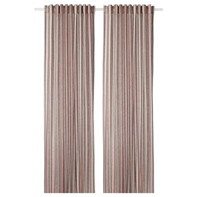 BERGSKRABBA Curtains, 1 pair, grey/red striped, 145x250 cm