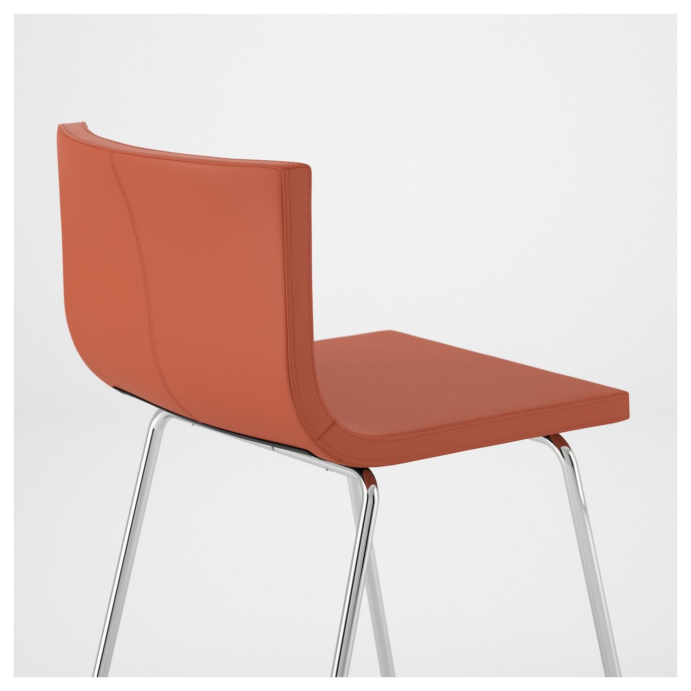 bernhard bar stool with backrest chrome plated mjuk orange 63 cm ikea. Black Bedroom Furniture Sets. Home Design Ideas