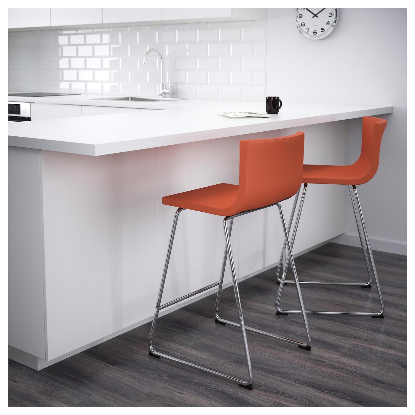 Bernhard Bar Stool With Backrest Chrome Plated Mjuk Orange